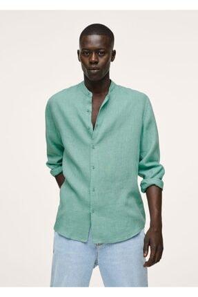 MANGO Man Erkek Su Yeşili Hakim Yakalı Regular Kesimli Keten Gömlek
