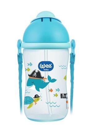 Wee Baby Akıtmaz Suluk Alıştırma Mavi Pipetli Bardak 380 ml