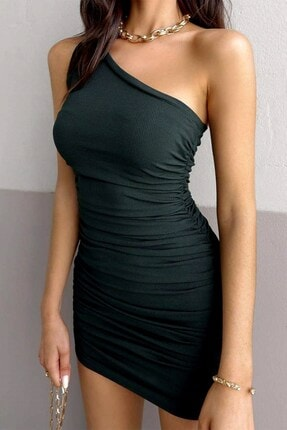 boutiquen 1612 Tek Omuz Büzgülü Mini Siyah Elbise