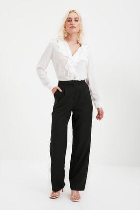 TRENDYOLMİLLA Siyah Düz Kesim Pileli Pantolon TWOSS21PL0155