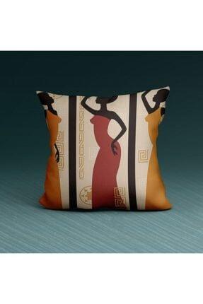 Artikel Renkli Kadın Figürlü Dekoratif Yastık Kırlent Kılıfı 45x45 Cm