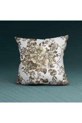 Artikel Beyaz Çiçek Desenli -2 Dekoratif Yastık Kırlent Kılıfı 45x45 Cm