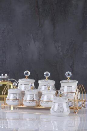 ACAR Antonia 7li Metal Standlı Porselen Baharat Seti Kaı-011672