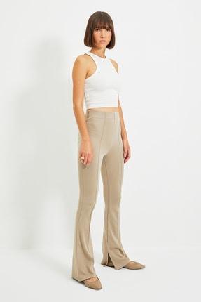 TRENDYOLMİLLA Taş Flare Örme Pantolon TWOAW22PL0184