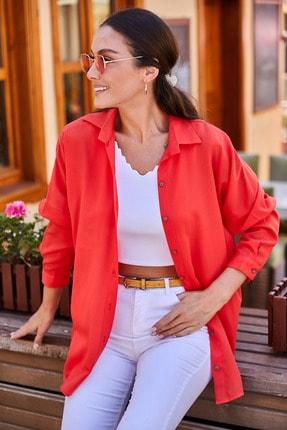 armonika Kadın Kırmızı Oversize Uzun Basic Gömlek