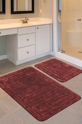 İva Home Collections Armina 2'li Pamuklu Klozet Takımı, Kırmızı Banyo Paspas Seti