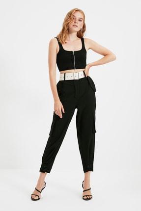 TRENDYOLMİLLA Siyah Kemerli Pantolon TWOSS21PL0677