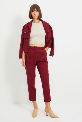 TRENDYOLMİLLA Bordo Çift Pili Detaylı Bilek Boy Pantolon TWOAW22PL0070