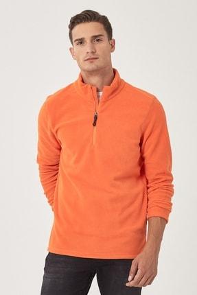 AC&Co / Altınyıldız Classics Erkek Turuncu Standart Fit Günlük Rahat Fermuarlı Bato Yaka Spor Polar Sweatshirt