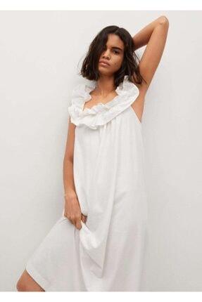 MANGO Woman Kadın Beyaz Fırfırlı Koton Elbise