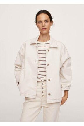 MANGO Woman Kadın Ekrü Cepli Kot Ceket