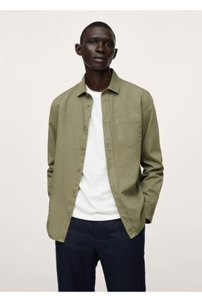 MANGO Man Erkek Haki Renk Regular Kesim Cepli Pamuklu Gömlek