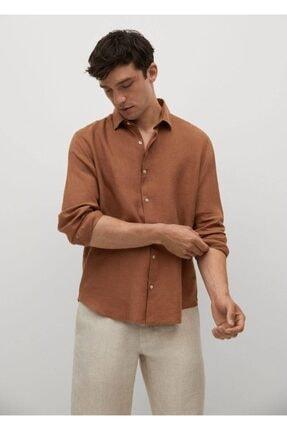 MANGO Man Erkek Yanık Turuncu %100 Keten Regular Kesim Gömlek