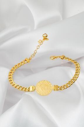 Bilezikci Kadın  Klasik Zincir Çeyrekli Altın Bileklik