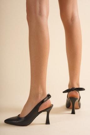 Emre Tunca Siyah Arkası Fiyonk Detaylı Şık Stiletto