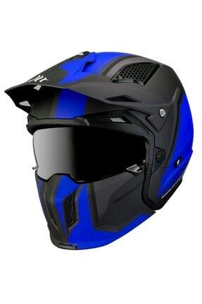 MT Helmets Mt Kask Street Fıghter Twın C7 Matt Blue Motosiklet Kask