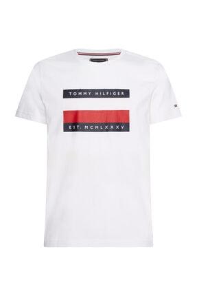 Tommy Hilfiger Erkek Beyaz T-Shirt Corp Stripe Box Tee MW0MW13345