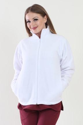 ModaCanel Beyaz Kadın Polar Mont