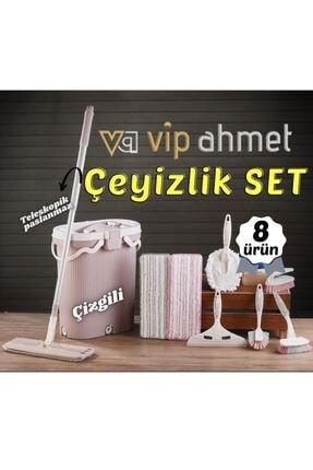 VİP AHMET Ceyiz Seti Vipset Premium Çizgili Mop Temizlik Kova Ve Temizlik Seti
