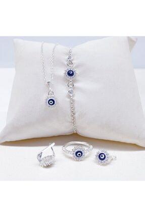 MAGRİB Nazar Boncuklu Gümüş Çocuk Takı Seti