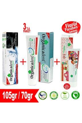 Organicadent Aktif Karbon Doğal Diş Macunu + Doğal Diş Macunu + Doğal Çocuk Diş Macunu (3'lü Paket)