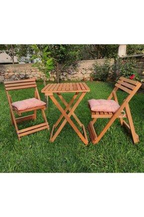 USF Katlanır Kamp Sandalyesi Ve Masa Balkon Bahçe Mutfak Ahşap Masa Sandalye 3'lü Bistro Set