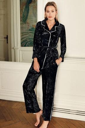 Artış Kadın Siyah Kadife Kimono Eşofman Takım 9215