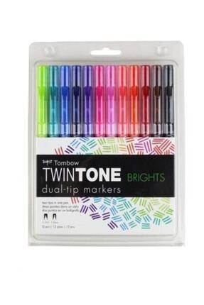 Tombow TwinTone Çift Uçlu Kalem 12`li CANLI RENKLER