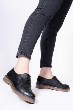 CZ London Hakiki Deri Kadın Günlük Ayakkabı Oxford Bağcıklı Maskülen Tarz