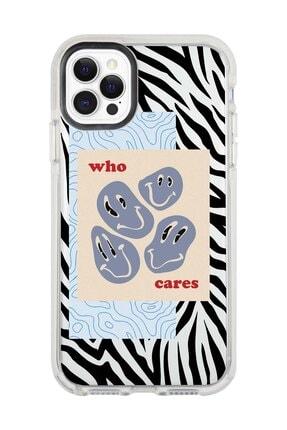 shoptocase Iphone 11 Pro Max Beyaz Kenarlı Anti Shock Who Cares Zebradesenli Telefon Kılıfı