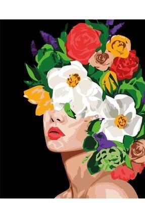 C&F-HOBBY Sayılarla Boyama Seti Kanvas 50x60 Fırça Ve Boya Seti Pamuk Tuval Bezi Çiçek Kız