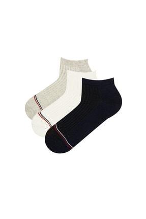 Penti Siyah Beyaz Gri Erkek Double 3lü Patik Çorap