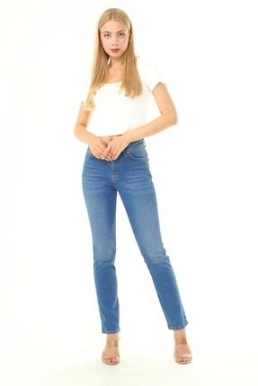 Alleben Kadın Yüksek Bel Mavi Likralı Klasik Pantolon 765