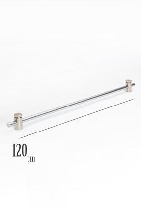 VENTİ PERDE 120 Cm Metalik Gri Rustik 1 Adet Briz Çubuk 2 Adet Başlık