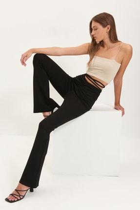TRENDYOLMİLLA Siyah Bağlama Detaylı İspanyol Paça Örme Pantolon TWOAW22PL0240