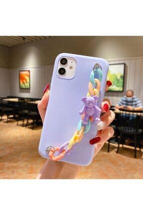 Aksesuarkolic Apple Iphone 11 Kılıf El Geçmeli Zincirli Ayıcıklı Candy