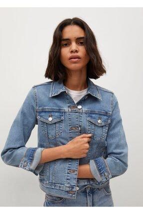MANGO Woman Kadın Donuk Mavi Pamuklu Kot Ceket