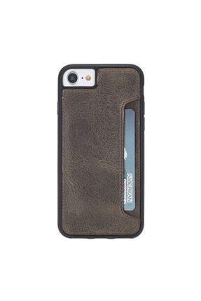 PLM Flex Cover Cc Deri Telefon Kılıfı Kartlıklı Iphone 7-8-se Uyumlu Ro6 Kahve