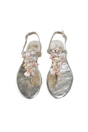 Oblavion Lavion Hakiki Deri Altın Deniz Kabuğu Günlük Taşlı Kadın Sandalet