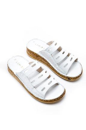 Limoya Hakiki Deri Joelle Beyaz Comfort Lazer Kesim Terlik