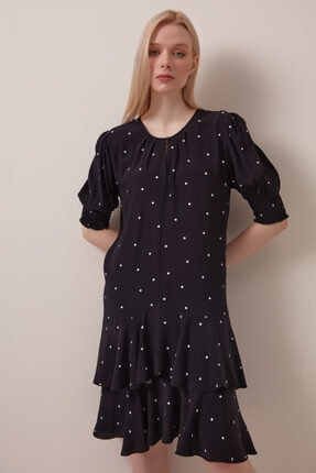Gusto Minik Puanlı Viskoz Elbise - Siyah