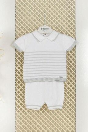 C&City Bebek Pamuklu Triko Çizgili Şortlu Takım 5512 Bebek Mavisi
