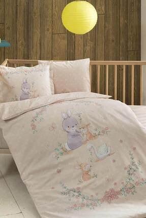 Taç Organik Bio Bebek Nevresim Takımı - Happy Bunny Somon