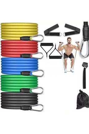 Buffer 11 Parça Latex Direnç Lastiği Seti Çok Fonksiyonlu Egzersiz Seti