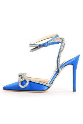 Flower Saks Mavi Saten Sıra Taşlı Abiye Ayakkabı