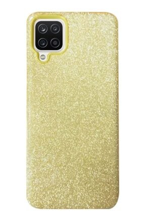 MobilCadde Eiroo Silvery Samsung Galaxy A12 Simli Gold Silikon Kılıf