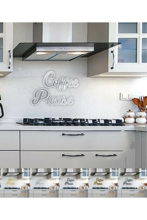 Sihirli Dolap Coffee Please Aynalı Gümüş Pleksi Duvar Yazısı Mutfak Dekoru