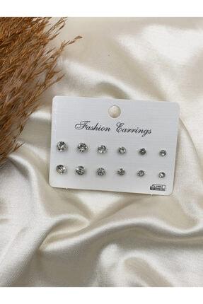 Eylülün Takısı Kadın Gümüş Renk Çoklu Taşlı Küpe