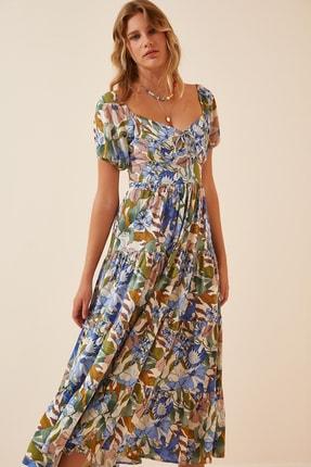 Happiness İst. Kadın Mavi Çiçekli Yazlık Viskon Elbise  FN02865