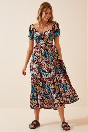 Happiness İst. Kadın Yeşil Çiçekli Yazlık Viskon Elbise  FN02865